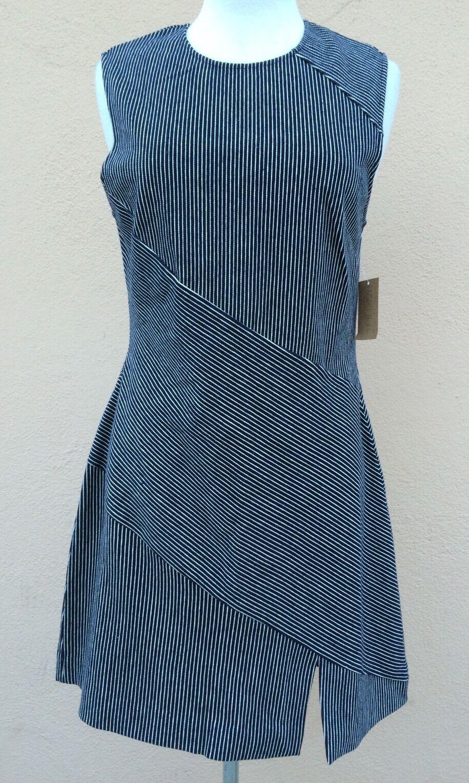 Rachel Roy Cocktail Knee Length  Dress Indigo Weiß 10 L  NWT