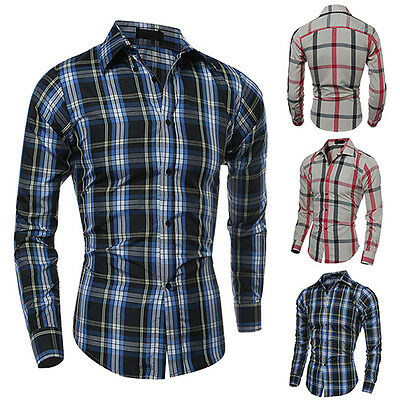 Bluelans Mens Winter Casual Plaid Fashion Long Sleeve Fit Flannel Clothes Shirts