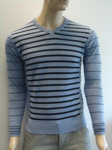 Para hombre Jersey V-Cuello wool//cotton mezcla Stripe jumper//sweater Entrega Gratis