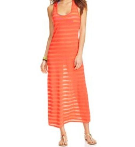 b5958bfd1c6ef Miken Swim Coral Striped Racerback Cover up Maxi Tank Dress S for sale  online | eBay