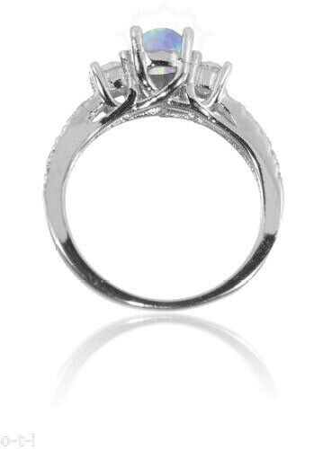 Oval Light Blue Fire Opal Clear CZ Fashion Sterling Silver Ring