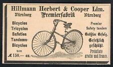 NÜRNBERG, Werbung 1888, Hillmann Herber & Cooper, Fahrrad bicycles Reklame /115