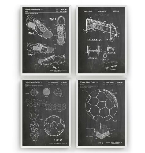 Art Poster Wall Decor Gift Soccer Football Set Of 4 Patent Prints Unframed