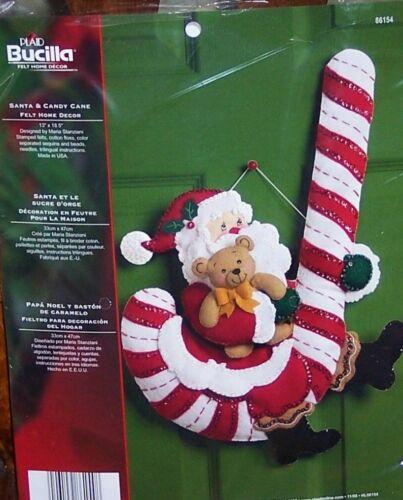Bucilla SANTA & CANDY CANE Felt Christmas Wall Hanging Kit 86154 Discontinued