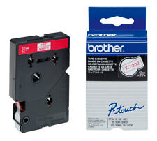 Brother TC-202 Tape Cassette 12mmX7,7m  red-white  für P-Touch2000  5000  OVP