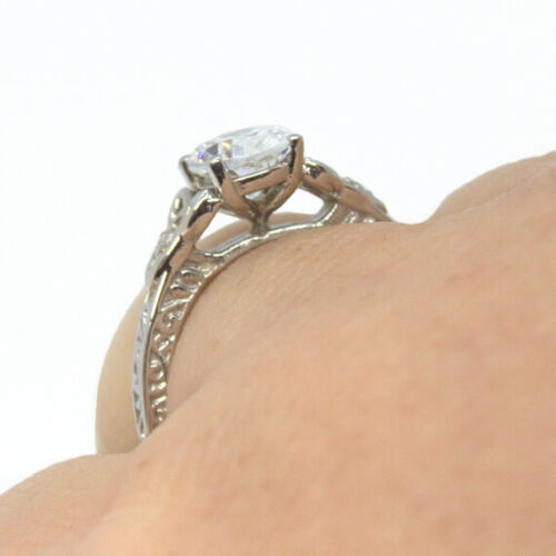 Details about  /Trinity Knot Ring Oval Diamond 4 Claw Sterling Silver