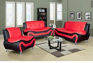 Excellent Details About Two Tone Black Red Compact Design Modern Faux Leather Sofa Set 3 Pc Gamerscity Chair Design For Home Gamerscityorg