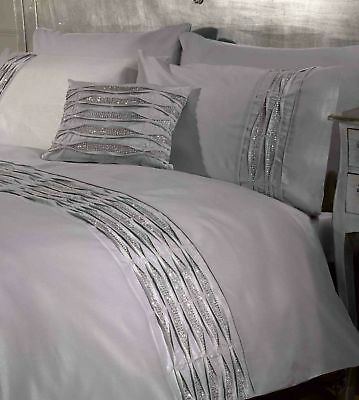 Belle Amie Crystal Diamante Quilt Cover Silver Grey Luxury Bedding Set #FREE P/&P
