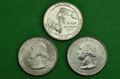 2015-P D S  BU Mint State 3 Coins US Park Quarters Saratoga National Park