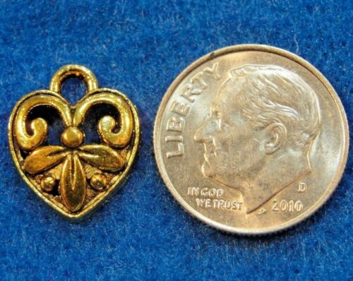 Tibetan Antique Gold Scroll  HEART Charms Pendants Earring Drops H157 20Pcs