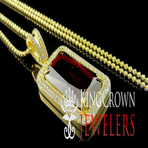 Mens real silver gold finish rick ross garnet red emerald cut image is loading mens real silver gold finish rick ross garnet aloadofball Gallery