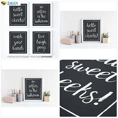Bathroom Wall Decor Art Prints Funny Quotes And Sayings Art Set Of 4 Posters Ebay
