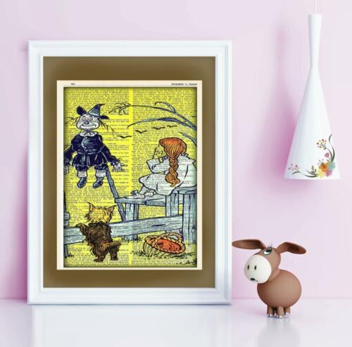 Wizard of Oz Dorothy Scarecrow Toto Dictionary Art Print Contemporary Art