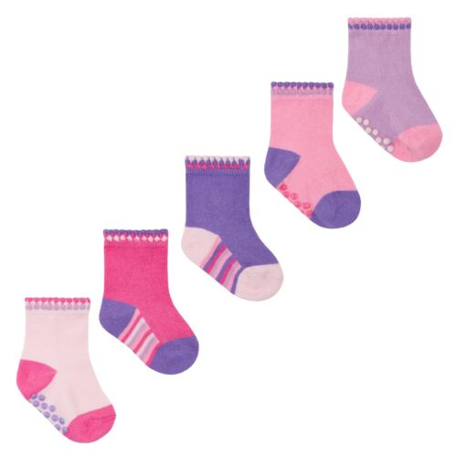 Baby Boys and Girls Non Slip Socks Three Pack Two Designs Ideal Soft Play Socks