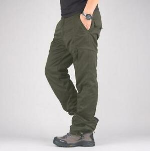 Mens-loose-casual-cargo-pants-fur-thick-overalls-outdoor-work-trousers-winter-sz