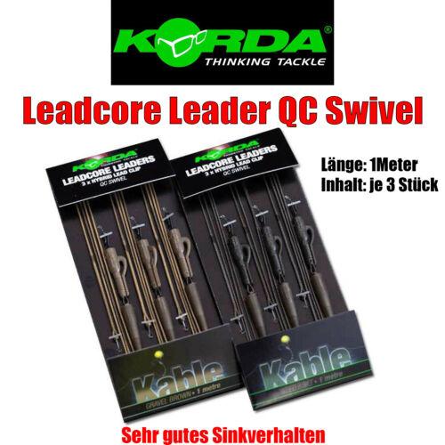 Vorfach 3 Stück pro Packung 2 Farben Korda Leadcore Leader QC Swivel
