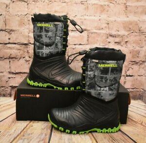 Ragazzi-Merrell-NEVE-Quest-Black-amp-Green-Lite-Stivali-Invernali-UK-11-EU-30-US-12