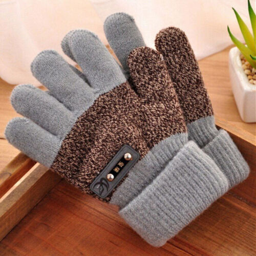 Boys Kids Warm Knitted Gloves Winter Thick Full Mitten Finger Protector Hot
