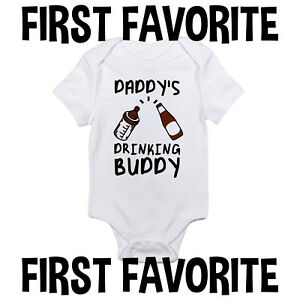 abddf5669 Daddy Drinking Buddy Baby Onesie Shirt Shower Gift Dad Beer Funny ...