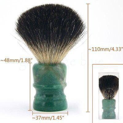 ZY Luxury Normal Badger Hair Wet Shaving Brush Emerald Green Stone Handle Barber