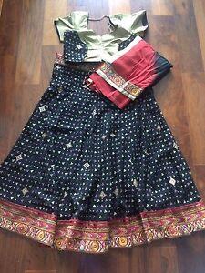 NEW Chaniya Choli Garba Lengha Red Black Gold Ombre Sari Salwar Anarkali
