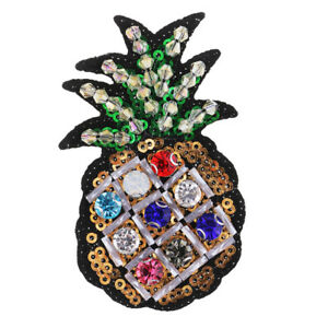 Iron-on-Pineapple-Applique-Sequins-Bead-Rhinestone-Patch-Clothes-Accessories
