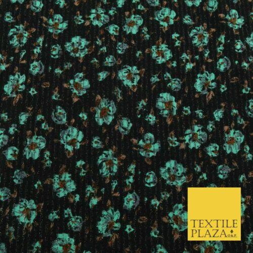 "BLACK MINT GREEN Floral Ribbed Sparkle Stripe Dress Fabric Skirts 59/"" 1479"