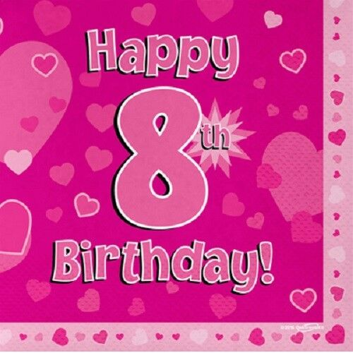 Happy 8th Birthday Party NapkinsPink Hearts 33cm Paper Serviettes Celebration