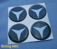 (String 60C) 4x Carbon Lock Embleme für Nabenkappen Felgendeckel 60mm Aufkleber