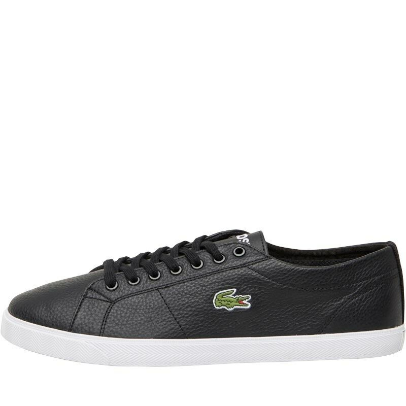 NEW Lacoste Mens Riberac Leather Trainers Black/Black