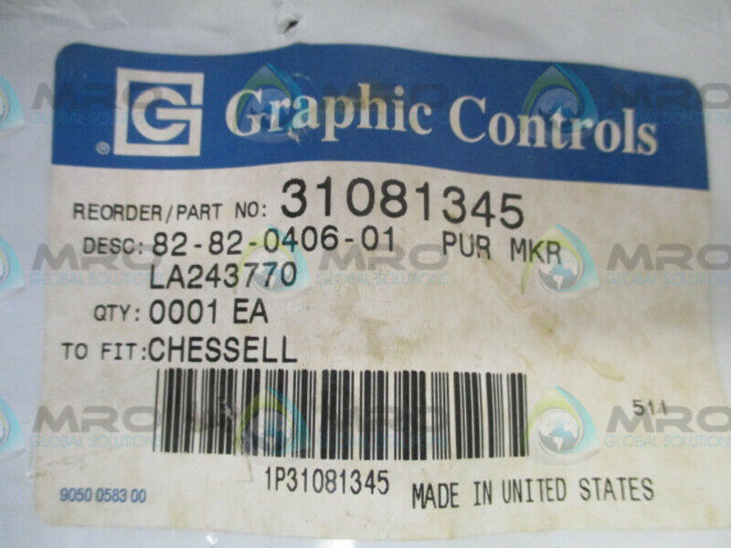 PKG OF 6 GRAPHIC CONTROLS 82-39-0303-06 BLUE PENS * NEW IN ORIGINAL PACKAGE *