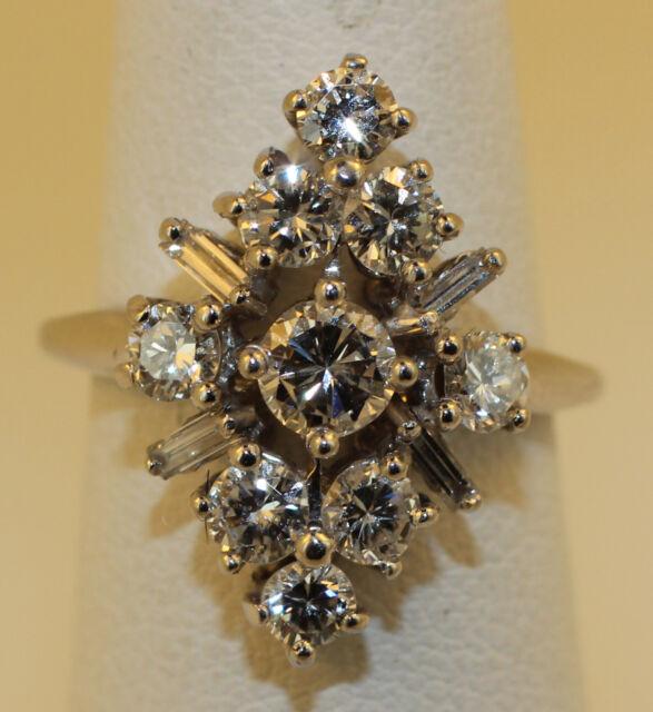 VINTAGE LADIES DIAMOND CLUSTER RING 1.69 CARATS   14KT WHITE GOLD