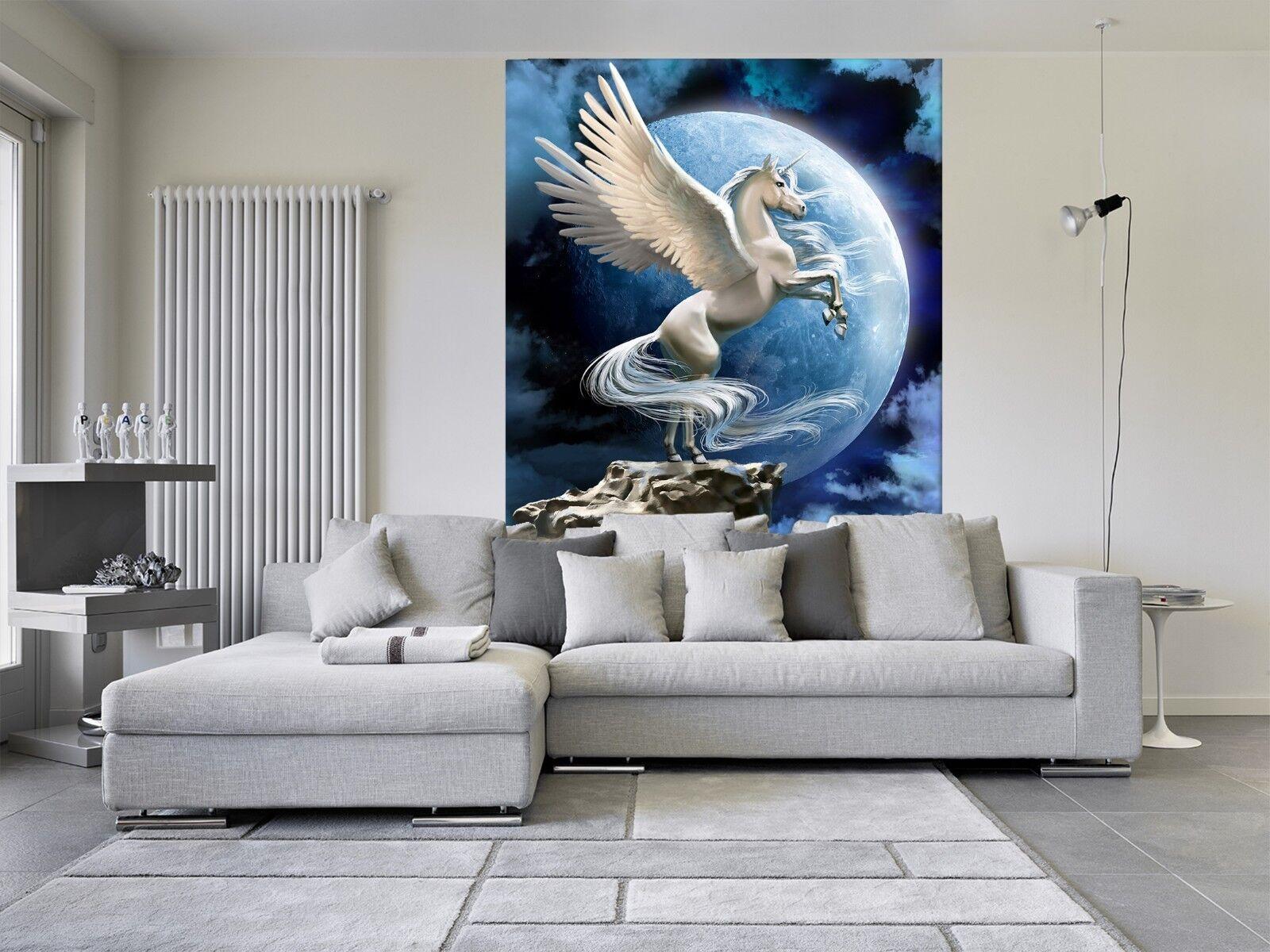 3D Mond Berg Einhorn  2 Tapete Wandgemälde Tapete Tapeten Familie Kinde DE