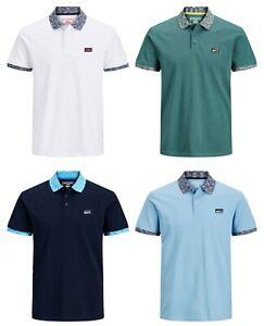 Jack-amp-Jones-New-Mens-Short-Sleeve-Polo-T-Shirt-Contrast-Piping-Navy-Blue-White