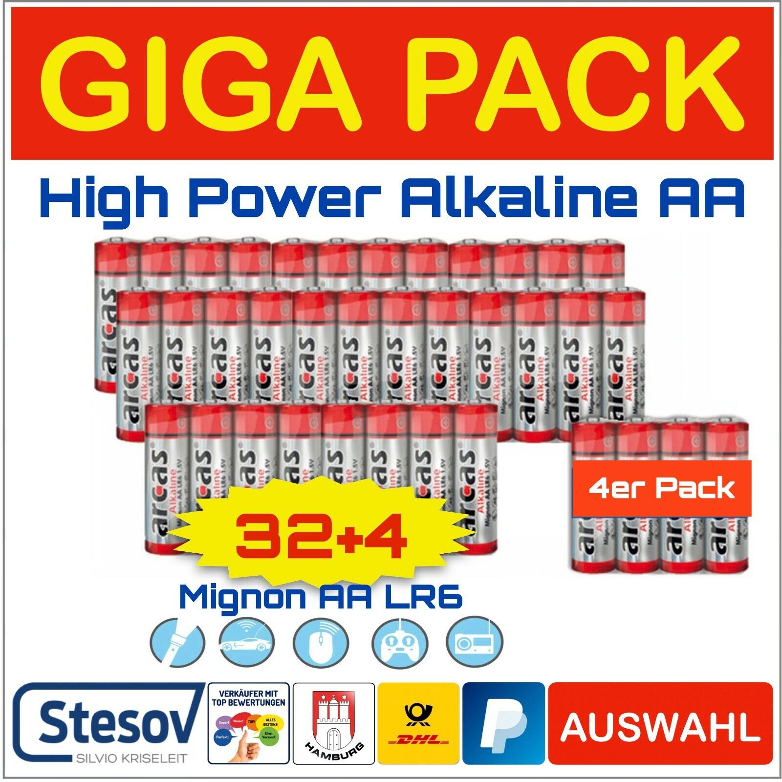 ARCAS 36er Pack High Power Alkaline Batteries Economy Pack Mignon Aa LR6 32+4