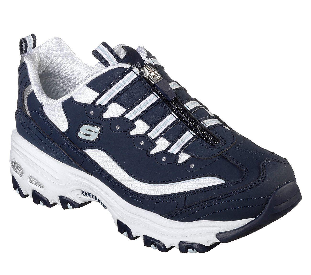 13080 Navy D'lites Skechers shoes Women Sporty Memory Foam Sneaker zipper Slipon