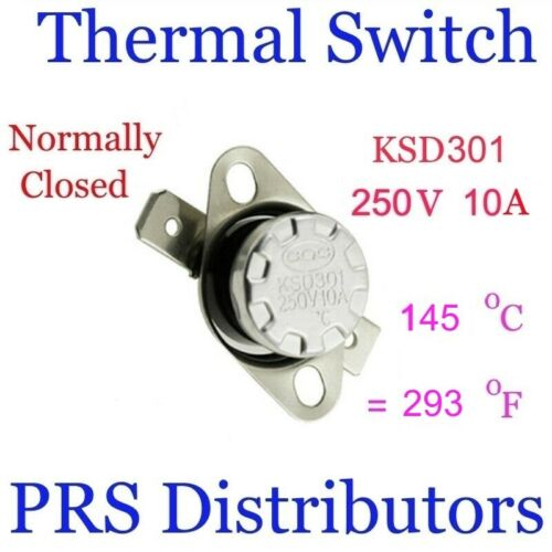 KSD301 10A 250V 145°C 293°F Thermostat Temperature Switch Thermal control Switch