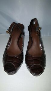 c1ea1ece08db Image is loading Tory-Burch-Allison-Croc-Patent-Peeptoe-Sling-Back-