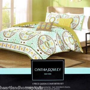 Cynthia Rowley Circle Medallion Queen Comforter Set Teal