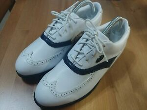 WHITE LEATHER WINGTIP GOLF SHOES SIZE