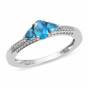 0-75-ctw-Size-6-0-Malgache-Neon-Apatite-Zircon-Ring-Platinum-Sterling-Silver