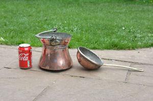 old copper pot vintage antique copper pot cauldron copper cooking- FREE DELIVERY