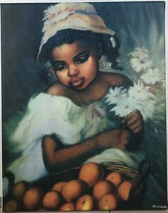 A-Beautiful-Girl-Holding-Flowers-And-Looking-At-Fruit-Basket-Hand-Painted-Art