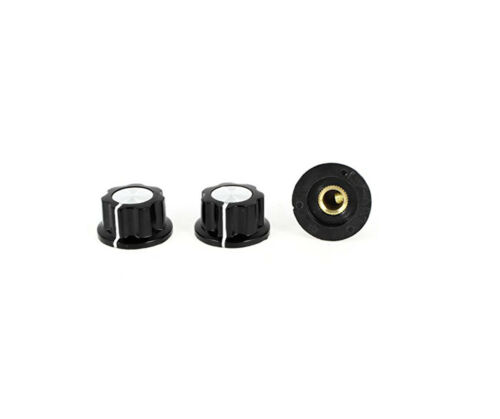 15Pcs Black 6mm Thread Srew Type Round Potentiometer Knob Cap MF-A02