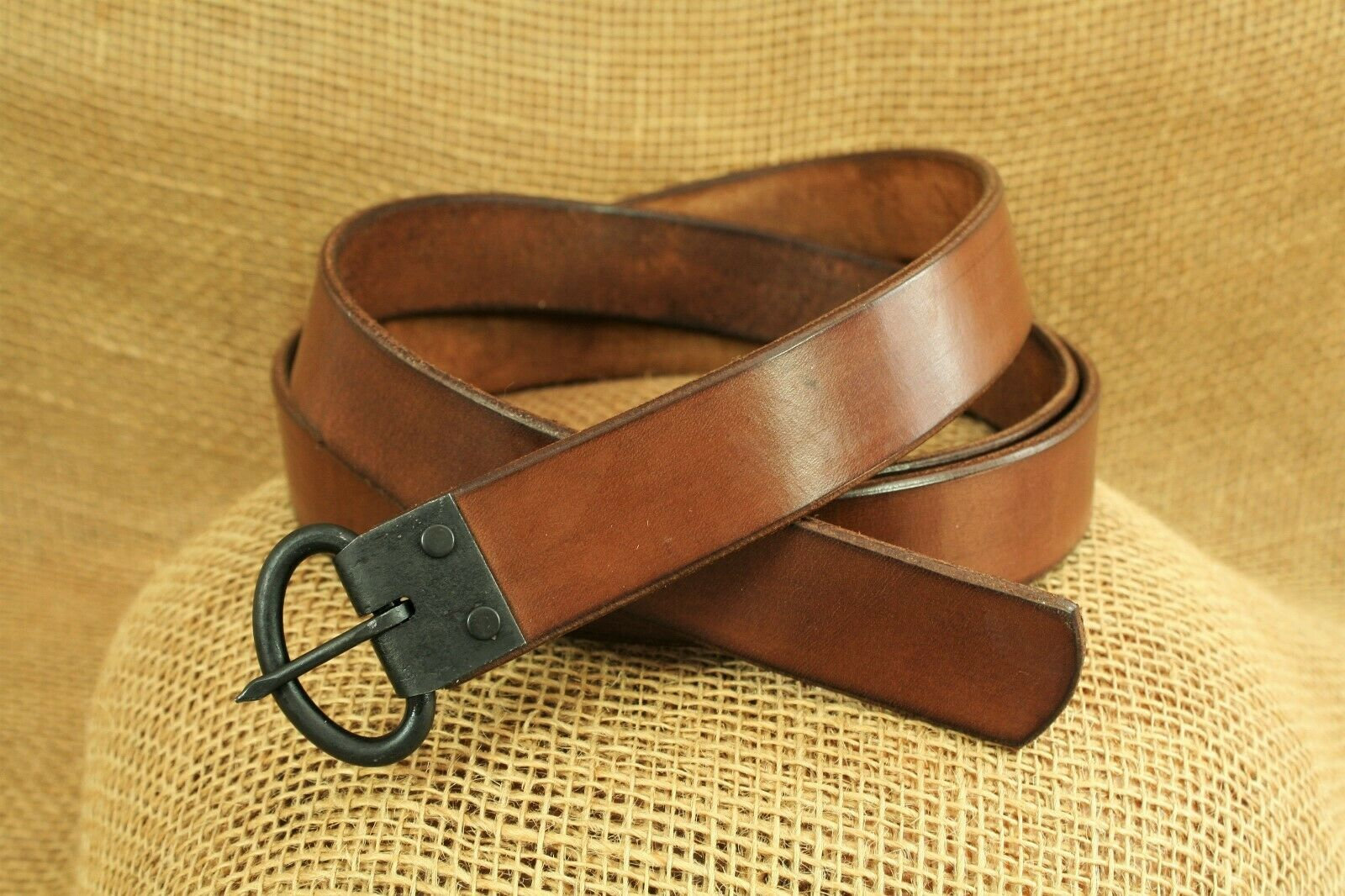 Cinturón De Cuero Marrón forjado hebilla medieval 165cm Viking 3cm Ancho