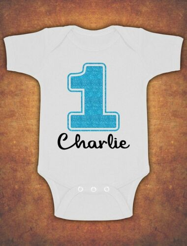 Personalised My First 1st Birthday Cute Baby Kids   Bodysuit  Glitter Boy