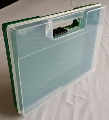 Case Plastic display Box 23cm x 17cm x 3cm deep. Storage with hinge