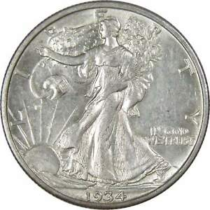 1934-S-50c-Liberty-Walking-Silver-Half-Dollar-US-Coin-AU-About-Uncirculated