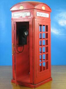 Handmade Reproduction Retro London Street Telephone Phone Booth Tin Metal Model