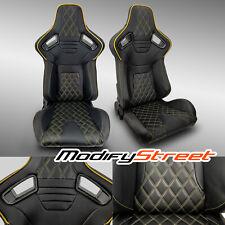 2 X Black Pvc Leatheryellow Stitch Leftright Racing Bucket Seats Fits Toyota Celica